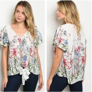 1 LEFT! White floral front-tie top